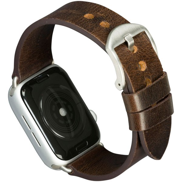 MODE - Kožený náramek Bornholm pro Apple Watch 44 mm, dark brown / silver