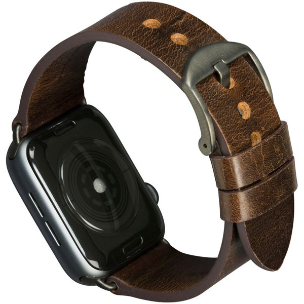 MODE - Kožený náramek Bornholm pro Apple Watch 44 mm, dark brown / space grey