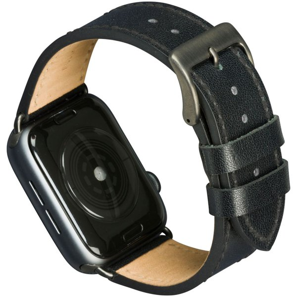 MODE - Kožený náramek Copenhagen pro Apple Watch 44 mm, black / space grey
